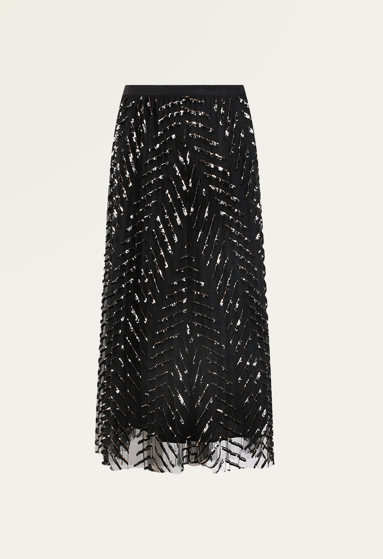 See-through sequined mesh skirt