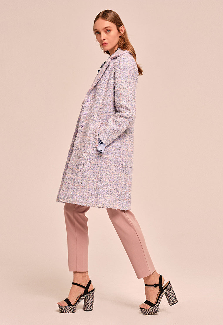 Purple long tweed coat