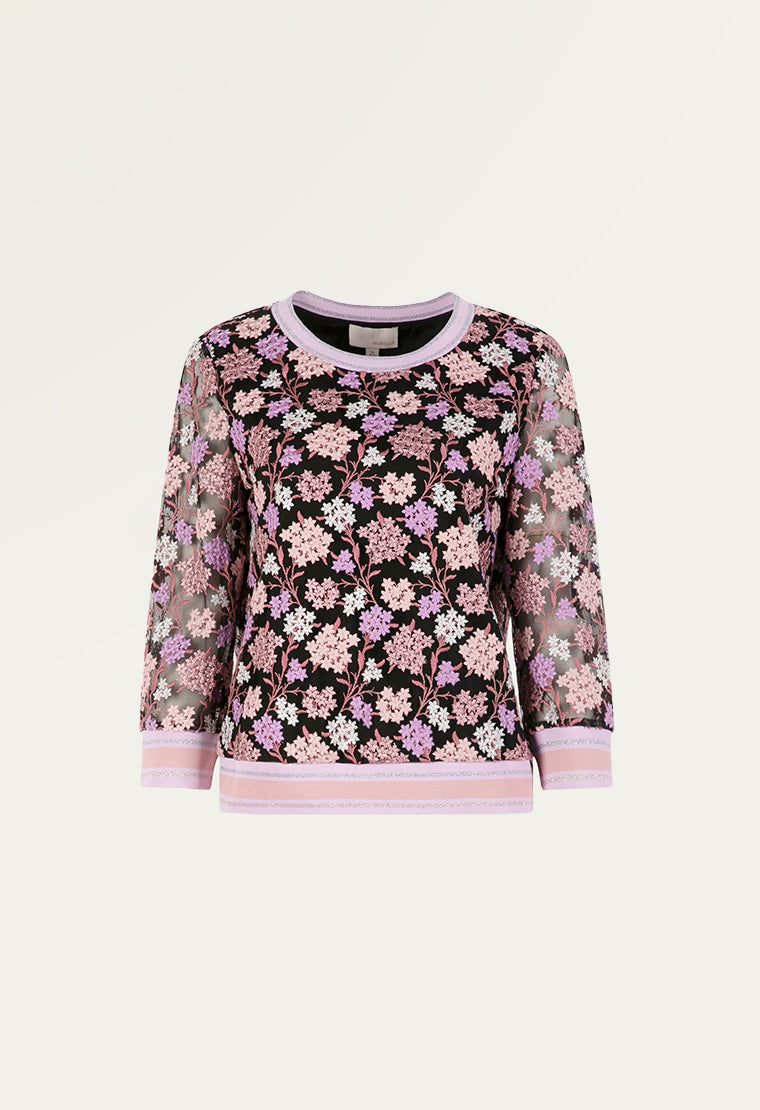 Delicate floral pattern mesh blouse