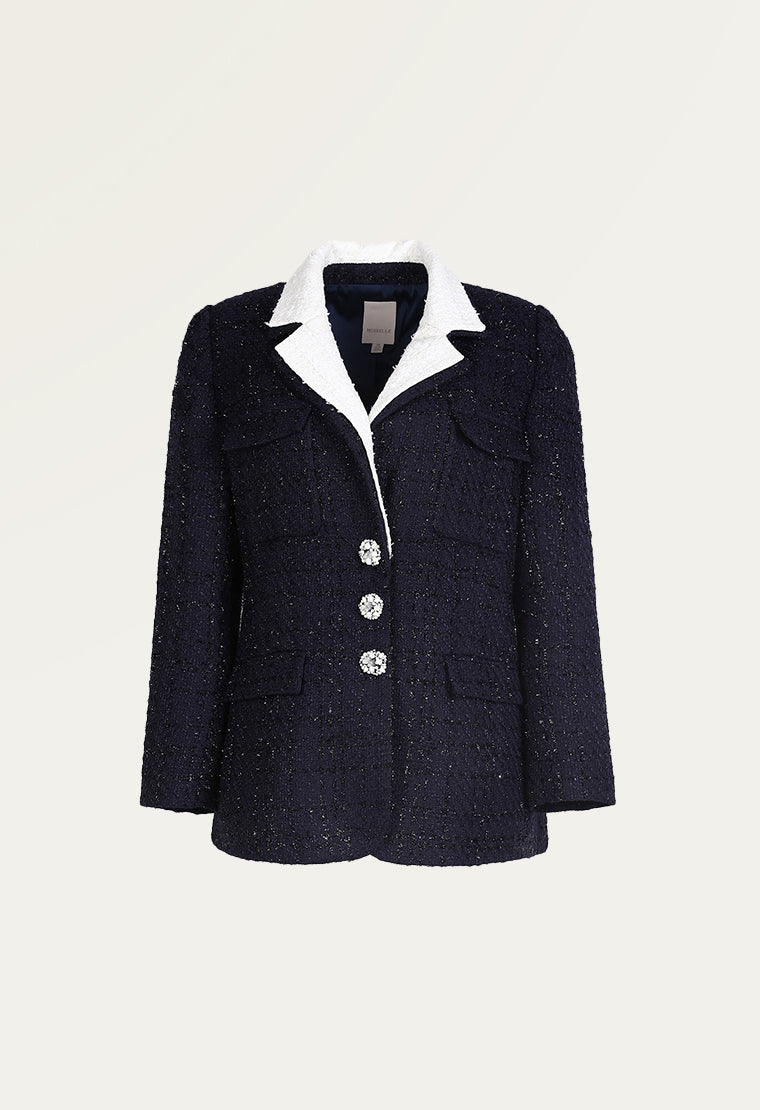 Straight cut tweed blazer