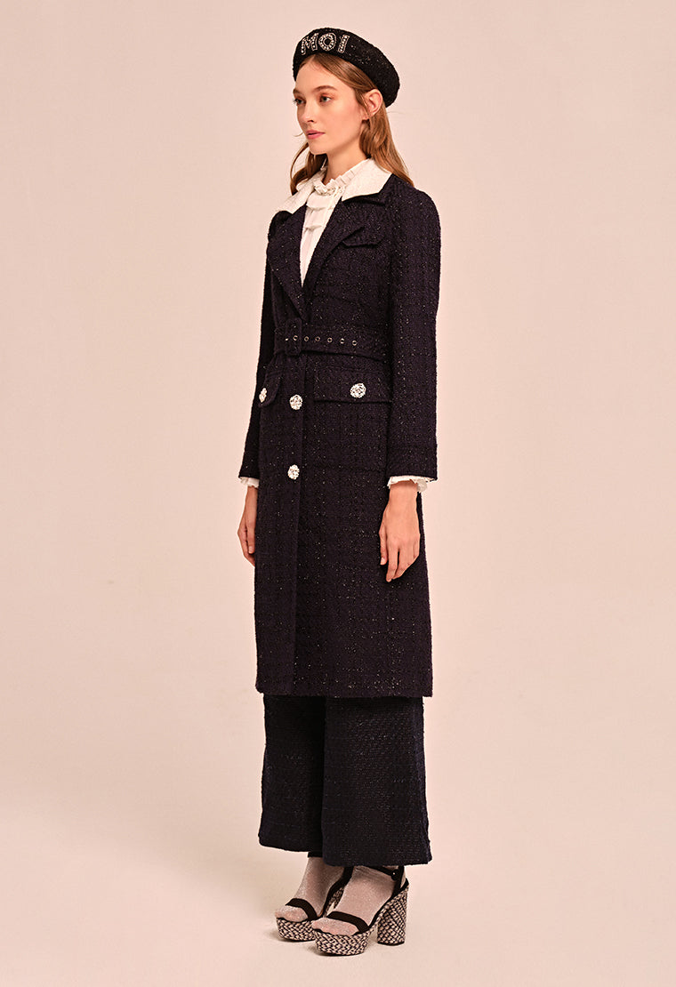 Straight cut tweed long coat