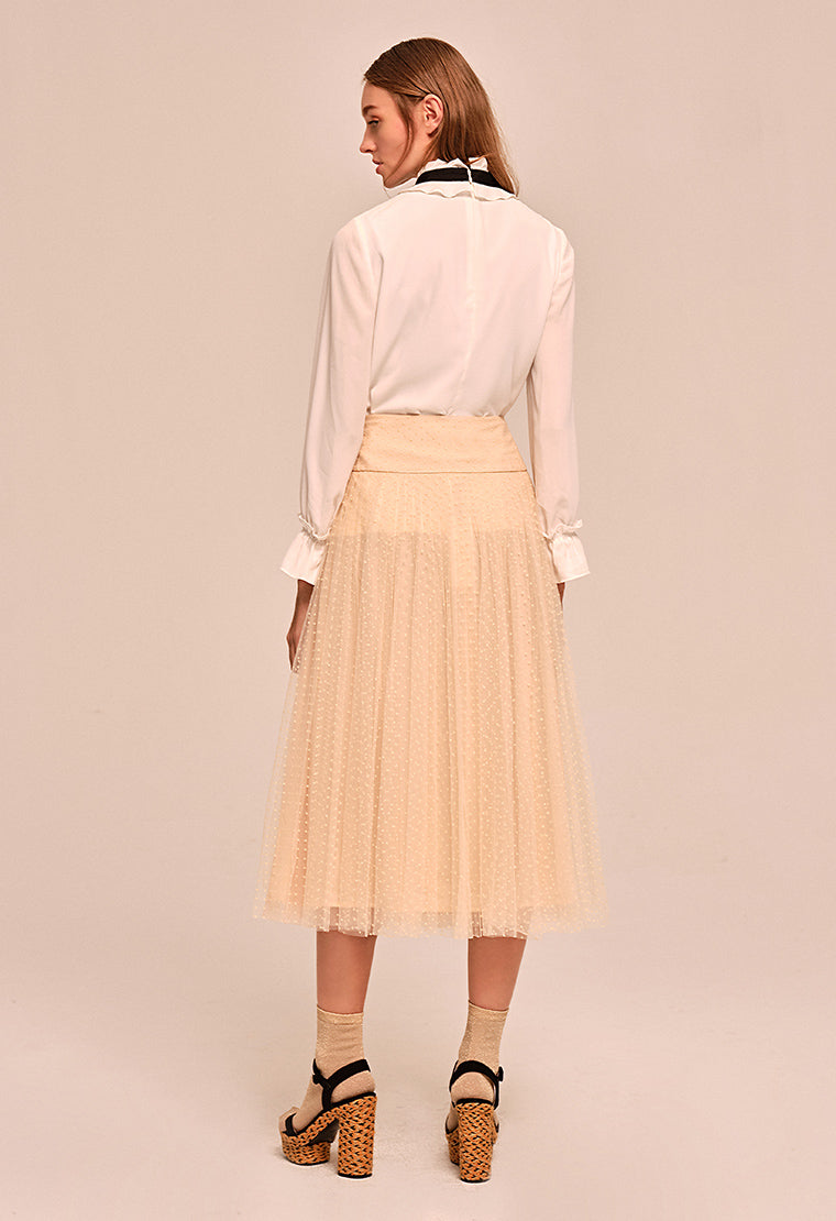 Sheer pleated crepe skirt