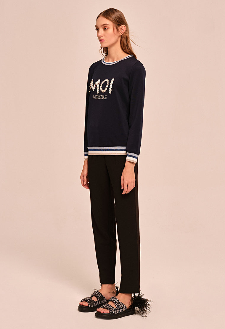 "Embroidered ""Moi"" long-sleeved T-shirt"