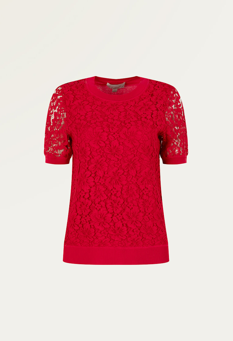 Red lace pullover