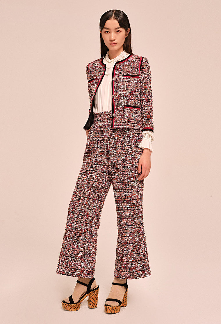 High waist straight-leg tweed pants