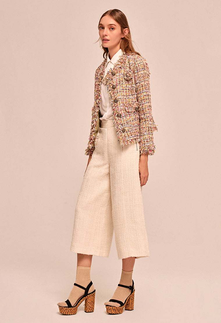 Tweed wide leg pants