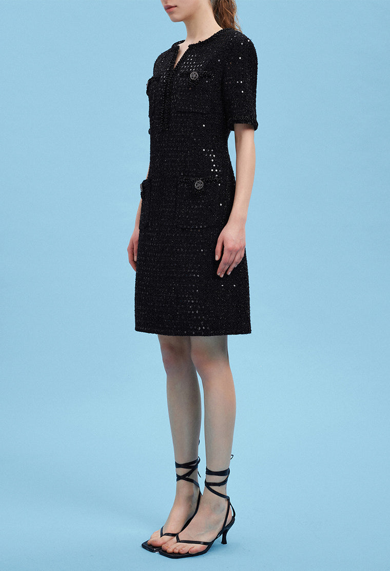Dignified glitter tweed dress
