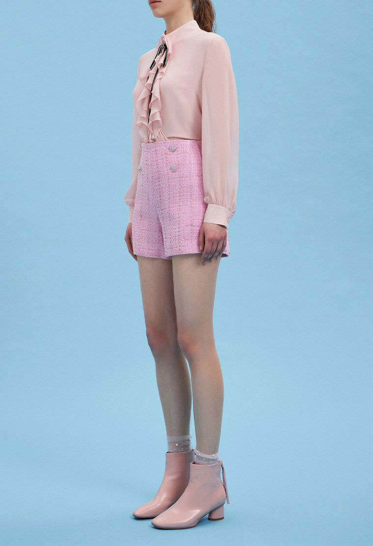 Light pink tweed shorts