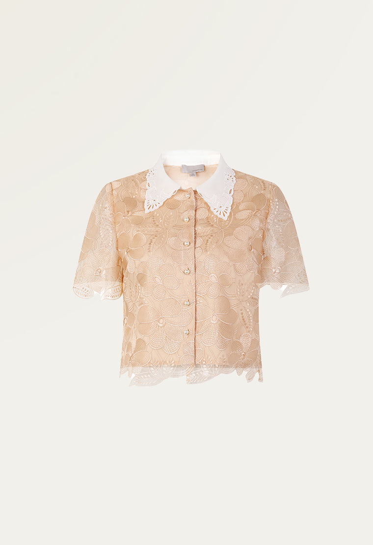Organza top with bow-knot