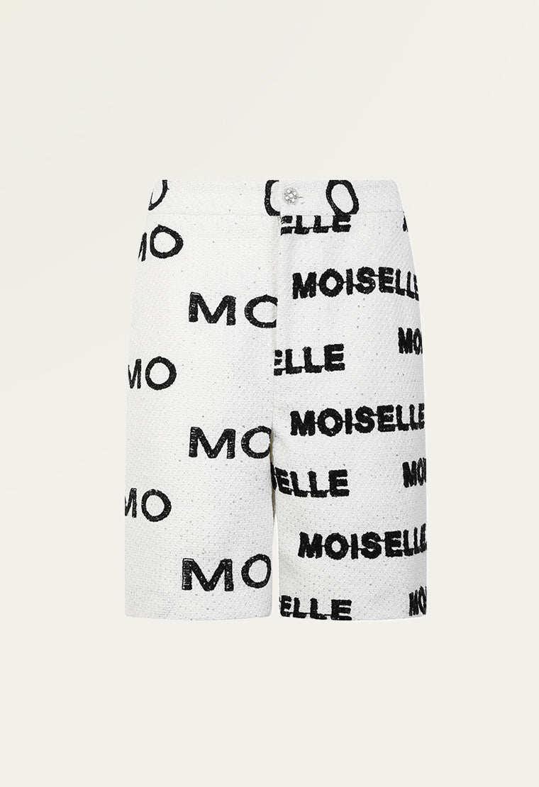 MOISELLE logo tweed shorts
