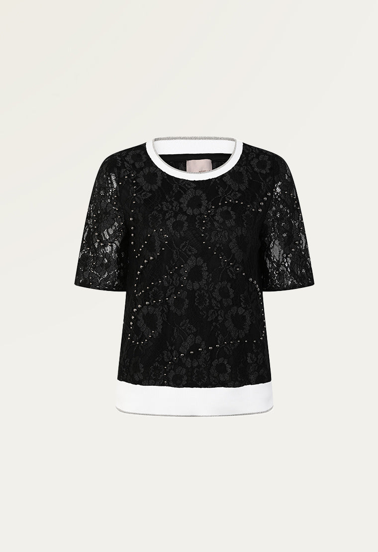 Pearl embroidered lace top