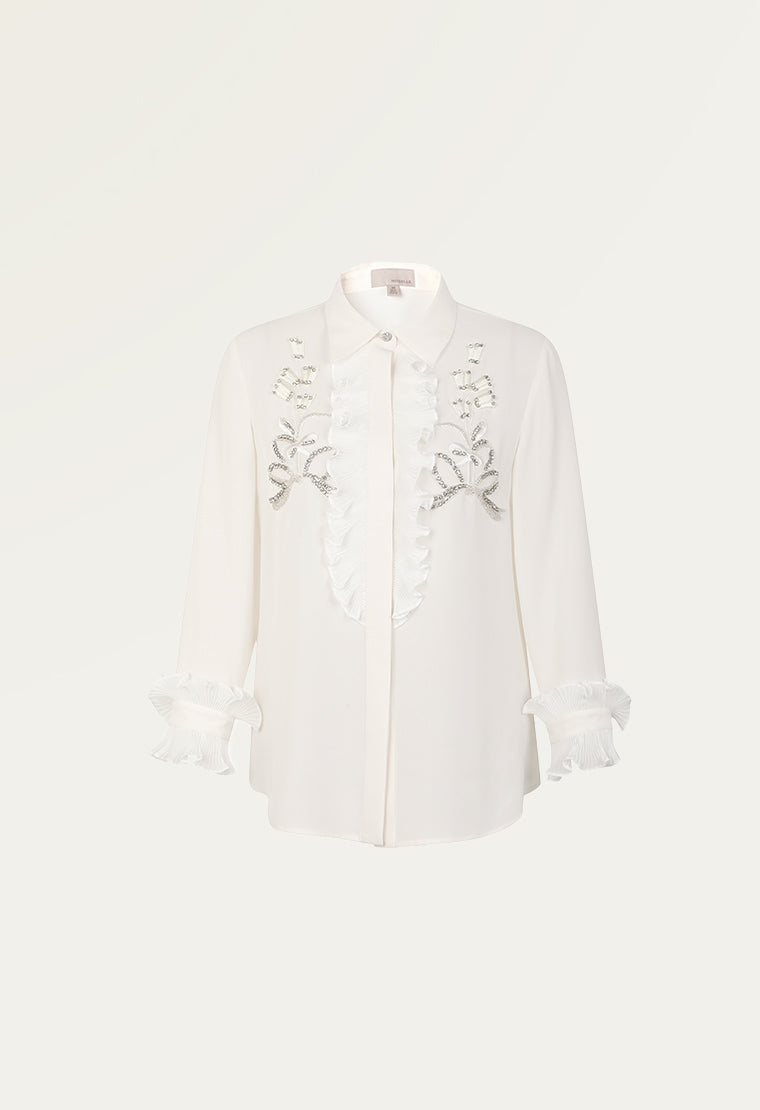 Noble embroidered chiffon top