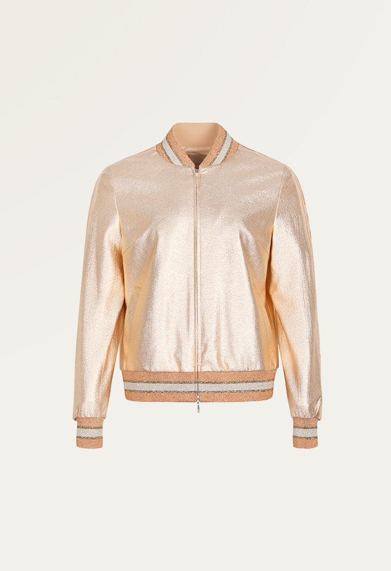 Metallic long-sleeved sport jacket