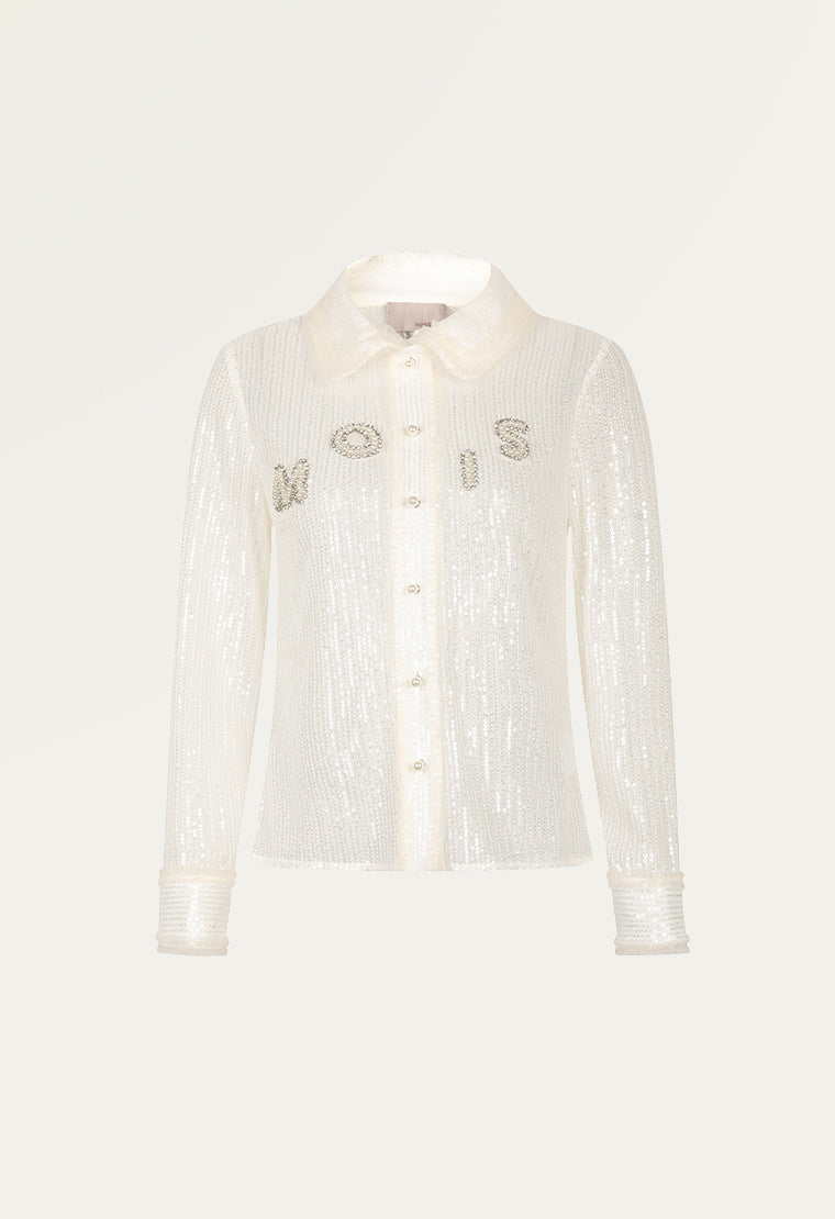 Pearl and amphibole embroidered shirt