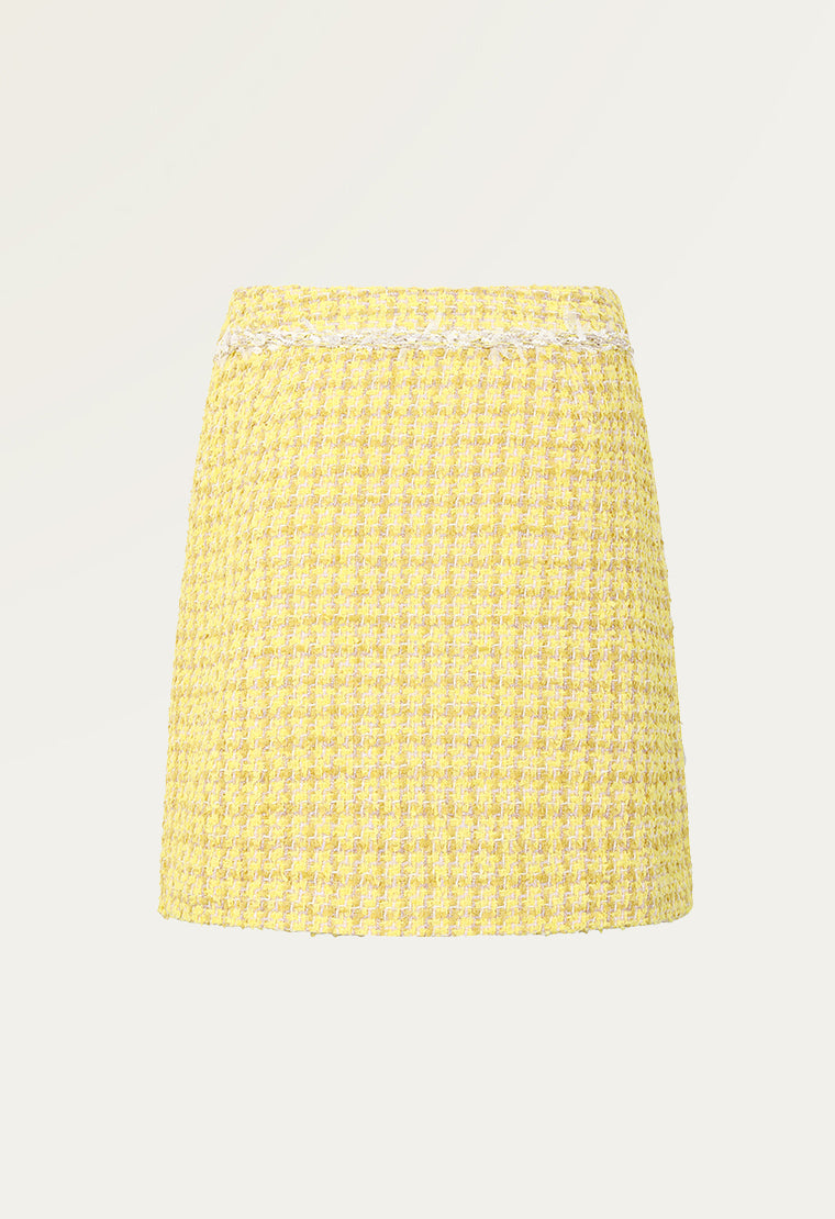 A-lined white tweed short skirt