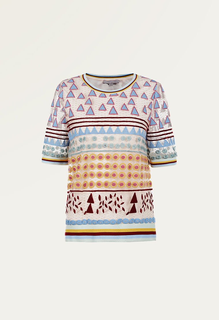 Causal geometric printed pattern blouse