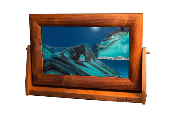 Colored Sandscapes Made in USA Medium Cherry Frame Ocean Blue Exotic Sands Art in Motion Md21