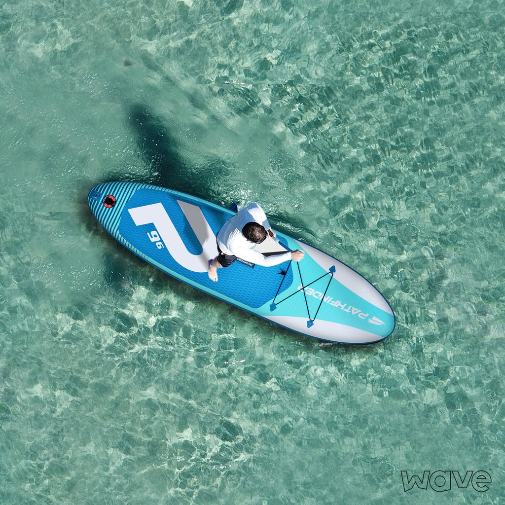 In Stock - Wave Pathfinder Inflatable Paddle Board SUP - Aqua 9' 6''