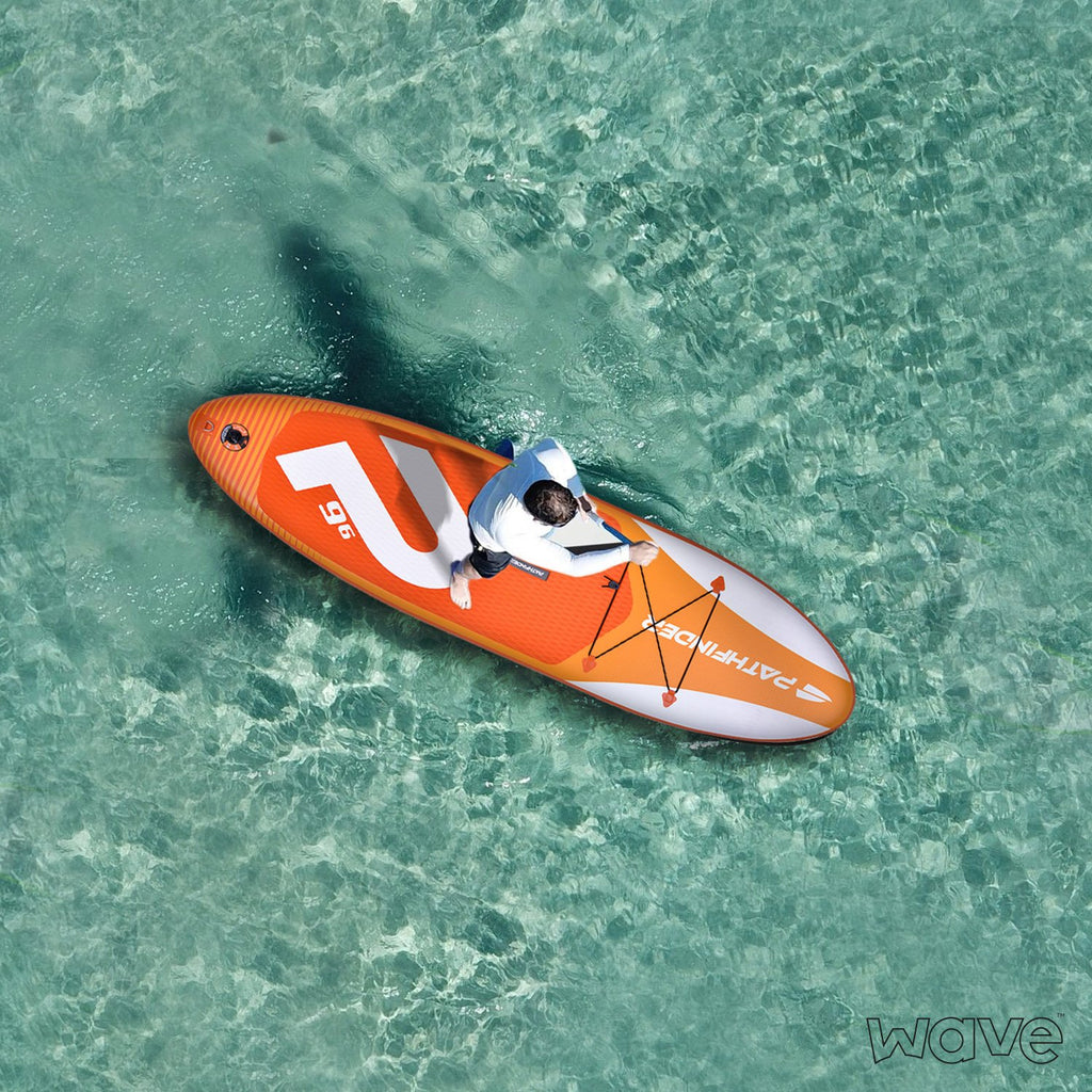 In Stock - Wave Pathfinder Inflatable Paddle Board SUP - Orange 9' 6''