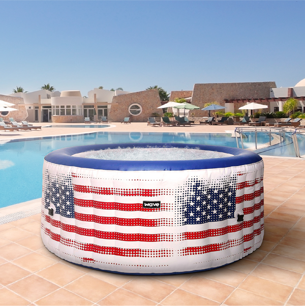 PRE-ORDER (Delivery May 29, 2021) - Wave Spa Atlantic USA Flag Inflatable Hot Tub (2-4 Person)