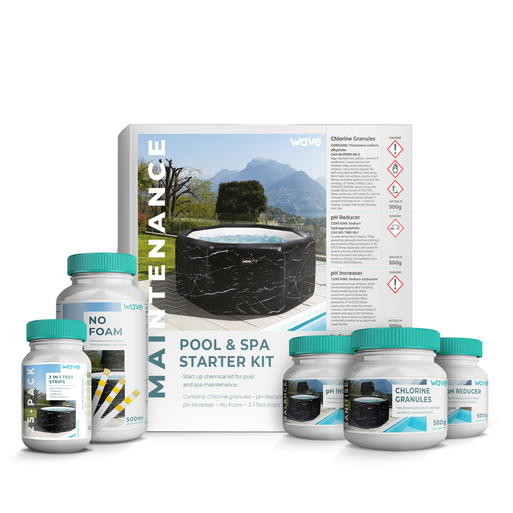 PRE-ORDER (Delivery May 29, 2021) - Hot Tub, Spa Starter Kit - Chlorine Granules, pH Increaser / Decreaser, No Foam, Test Strips