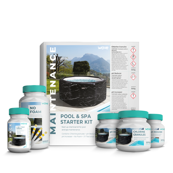 PRE-ORDER (Delivery mid-April 2021) - Hot Tub, Spa Starter Kit - Chlorine Granules, pH Increaser / Decreaser, No Foam, Test Strips