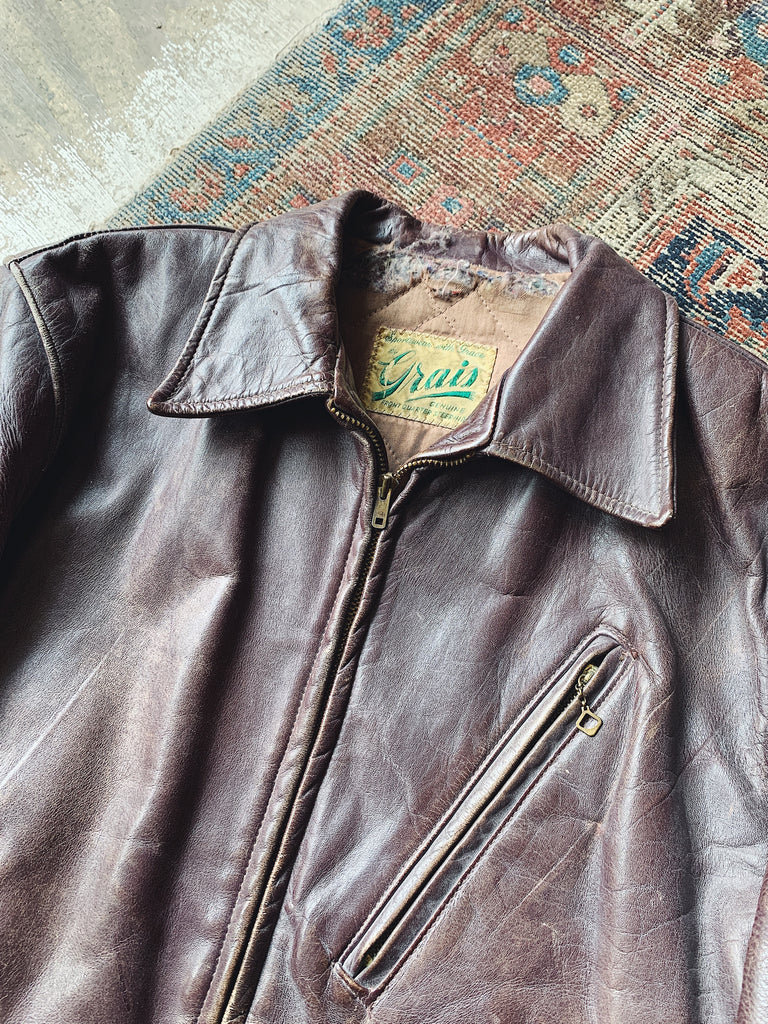 Vintage 1950s Grais Steerhide Leather Jacket - Size Medium