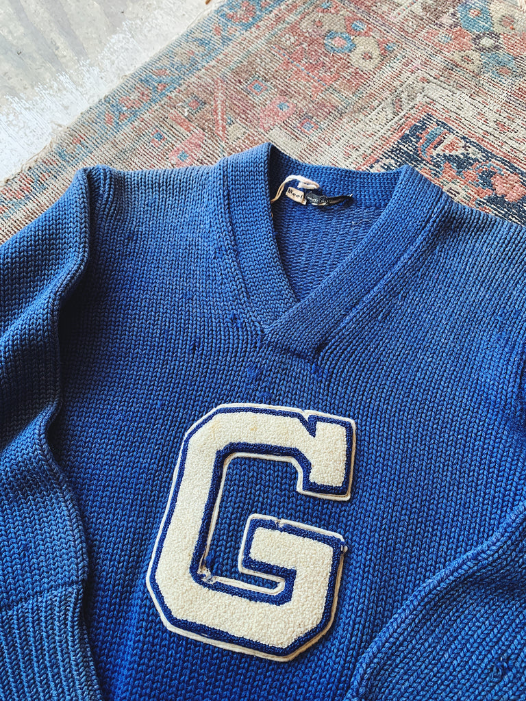 "Vintage ""G"" Varsity Sweater - Size Small"