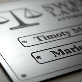 An ideal metallic product for laser engraving and high-end look for your signage