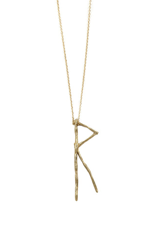 Nordic Runes RAIDO Italian Brass Necklace ( Journey, Travel )
