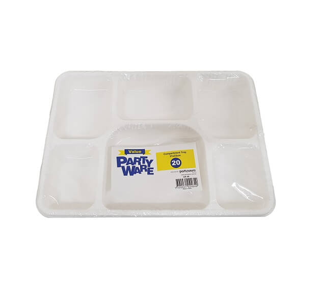 6 Compartment Tray Plastic White
