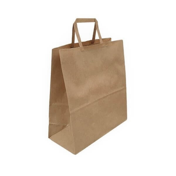 Brown Paper Carry Bag - Flat Paper Handle