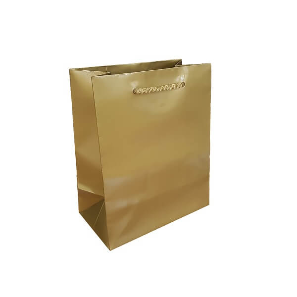Baby Laminated Gold Gloss Bag with rope handle