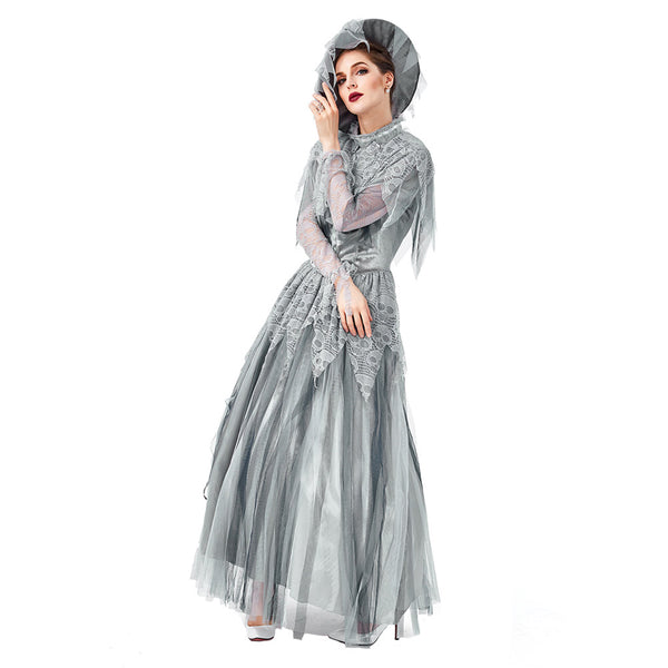Women Halloween Dresses Vintage Classical Slim Cosplay Ghost Bride Gothic Costume Party Carnival Dress - OLAOLA