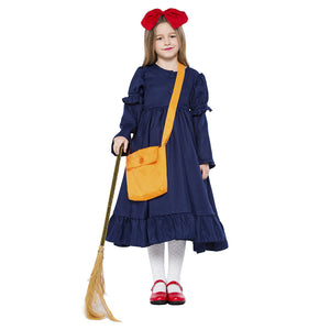 Kids Girls Kiki's Delivery Service Cosplay Costume Dress Halloween Cute Girl Dress Carnival Full Set - OLAOLA