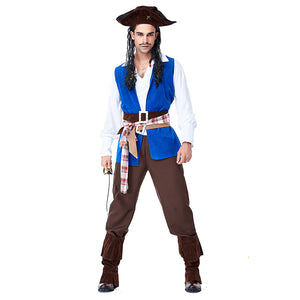 Adult Men Halloween Pirate Costume Caribbean Pirate Captain Costume Pirate Cosplay Costume - OLAOLA