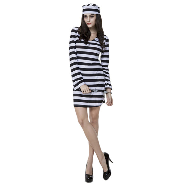 Women Scary Zombie Prisoner Jailbird Costume Black White Striped Halloween Purim Costumes Fancy Dress - OLAOLA