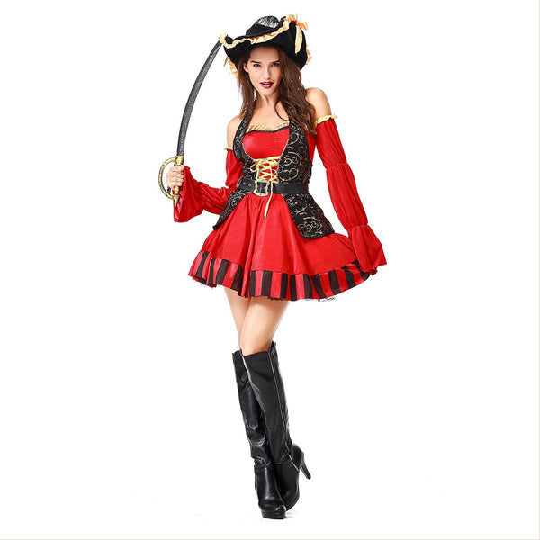 Women Pirate Costumes Performance Sexy Adult Halloween Costume Cosplay Fancy Buccaneer Captain Pirate Dress - OLAOLA