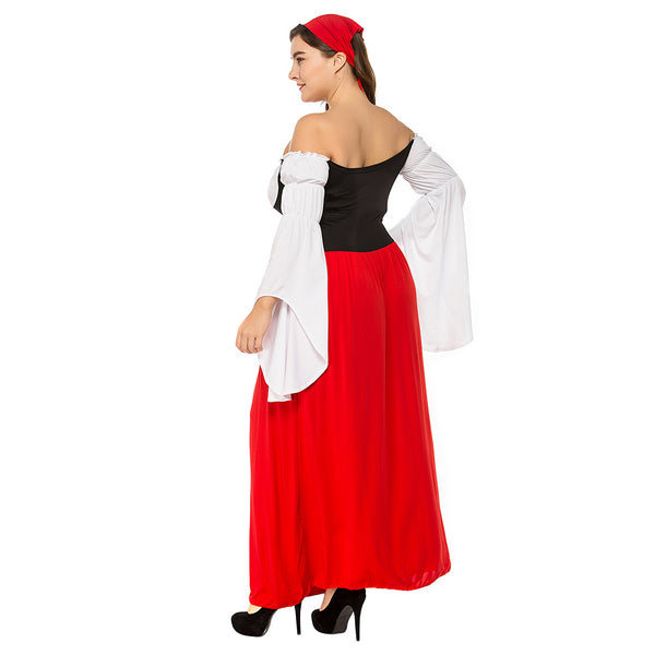 Plus Size Women Sexy German Beer Girl Costumes Bavarian Oktoberfest Costumes Adult Beer Maid Fancy Long Dress - OLAOLA