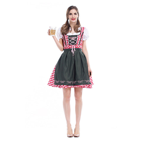 Women Oktoberfest Costumes Beer Maid Authentic German Ladies Festive Party Waiter Bavarian Dirndl Peasant Dress - OLAOLA