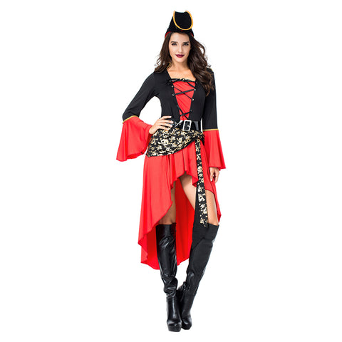 Adult Women Halloween Sexy Wench Costume Pirate Female Spanish Pirate Cosplay Costume - OLAOLA
