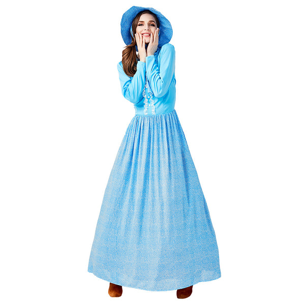 Women Halloween Idyllic Farm Apron Maid Costume Pioneer Cosplay Blue Fancy Dress - OLAOLA