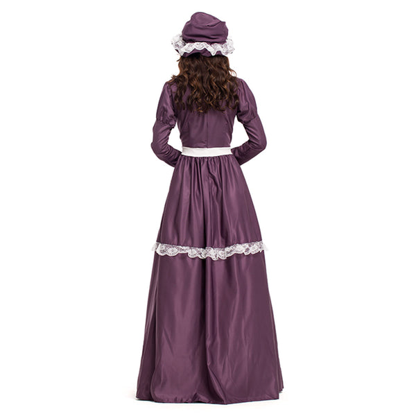 Women Halloween American Pioneer Colonial Dress Prairie Costume with Bonnet - OLAOLA