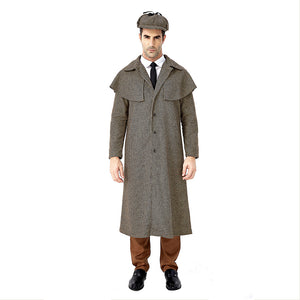 Men Halloween Sherlock Holmes Cosplay Costumes Plaid Coat Role Play Fancy Clothing Costumes - OLAOLA