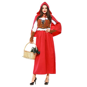 Women Halloween Little Red Riding Hood Peasant Costume Female Medieval Renaissance Outfit Set - OLAOLA