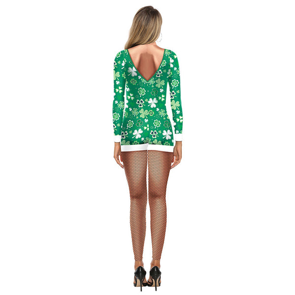 Adult Women St. Patrick's Day Shamrocks Costume Halloween Cosplay Fancy Dress Spandex Jumpsuit