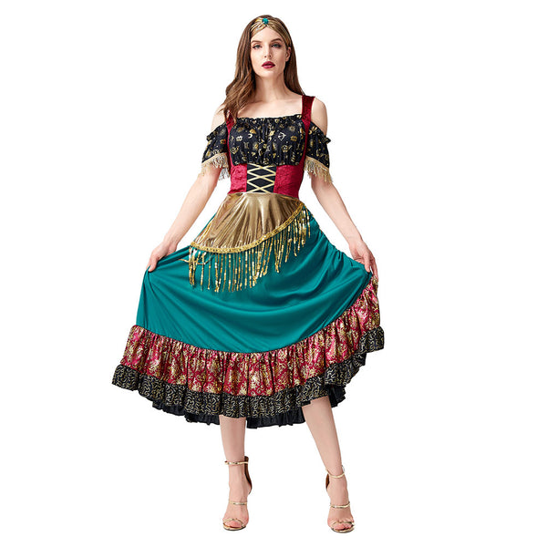 Women Fantasia Purim Halloween Costumes Starlight Gypsy Fortune Teller Costume Flamenco Dancer Cosplay Dress - OLAOLA