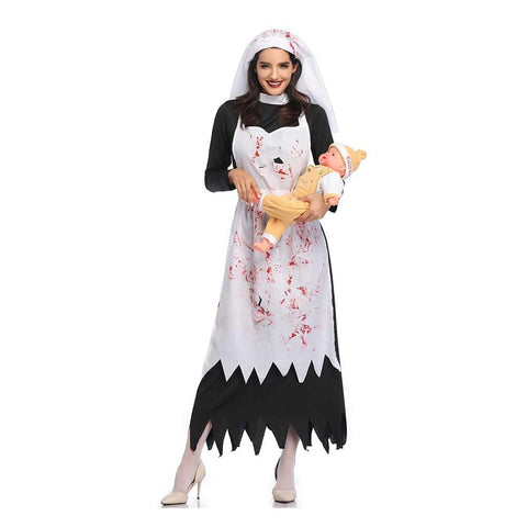 Women Halloween Black Horror Bloody Nurse Nun Costume Priest Zombie Vampire Cosplay Costume - OLAOLA
