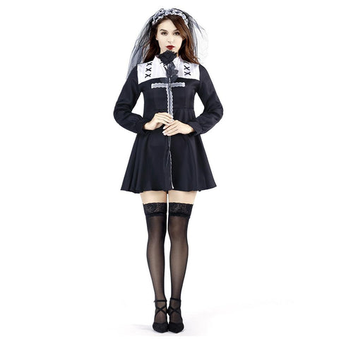 Women Halloween Dress Horror Ghost Nun Cosplay Costume Clothes Masquerade Funny Dress - OLAOLA
