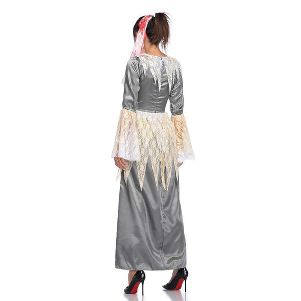 Women Halloween Bloody Bride Gothic Scary Witch Cosplay Costume Horror Vampire Maxi Dress Carnival Party Costume - OLAOLA